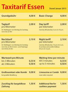 Taxitarif Essen Steele, überruhr, huttrop,kray,bergerhausen, burgaltendorf